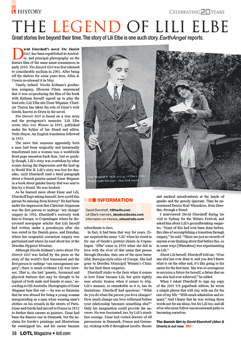 "Karin in LOTL Magazine: ""The Legend of Lili Elbe"""