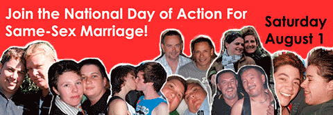 Banner, National Day of Action for the right to marriage for everyone.