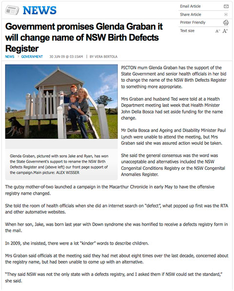 NSW Government promises to change name of NSW Birth Defects Register