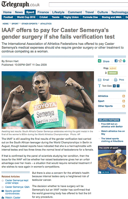 "London Telegraph: ""IAAF offers to pay for Caster Semenya's gender surgery if she fails verification test"""