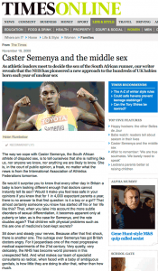 "London Times: ""Caster Semenya and the middle sex"""