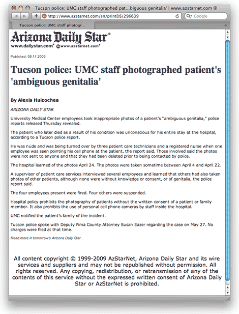 Intersex people and photography: US hospital staff photograph unconscious intersex person's genitals
