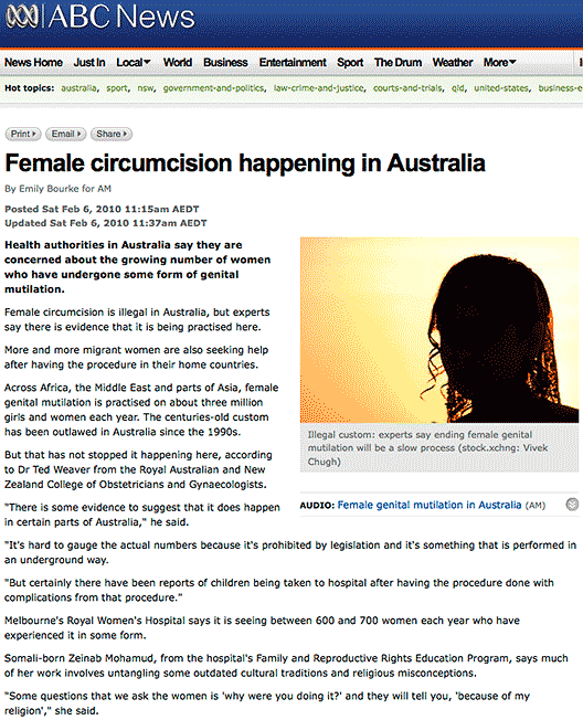 "ABC News: ""Female circumcision happening in Australia"""