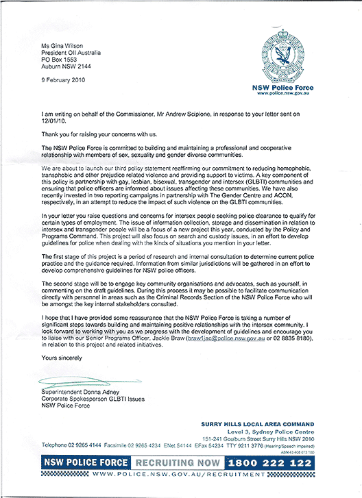 Letter from Superintendent Donna Adney, Corporate Spokesperson GLBTI Issues, NSW Police Force