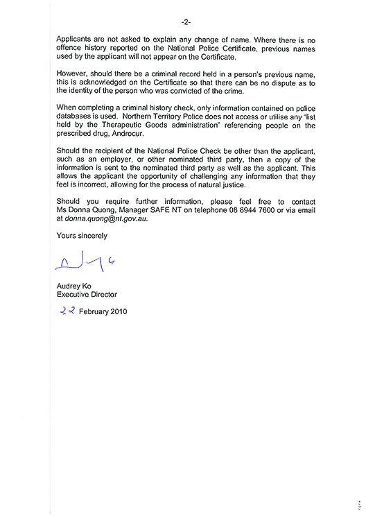 Reply from Audrey Ko, Executive Director, Corporate Service, Northern Territory Police, Fire and Emergency Services, page 2.