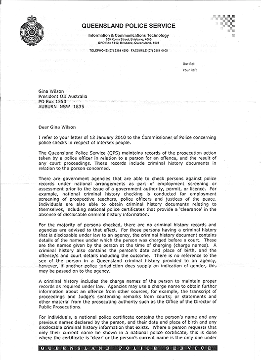 Letter in reply from Assistant Commissioner Paul Stewart of Queensland Police, page 1.