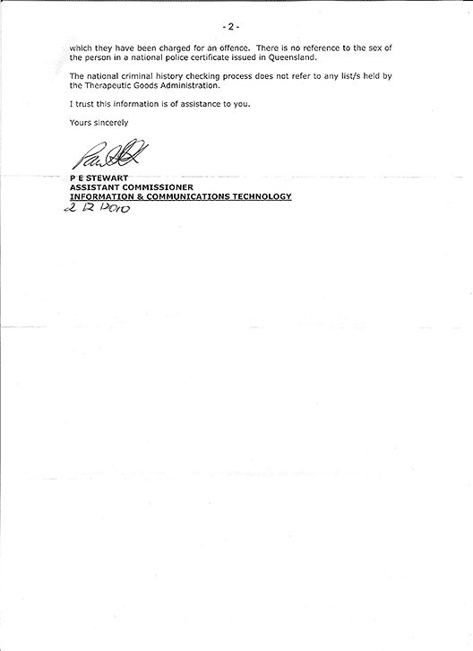 Letter in reply from Assistant Commissioner Paul Stewart of Queensland Police, page 2.
