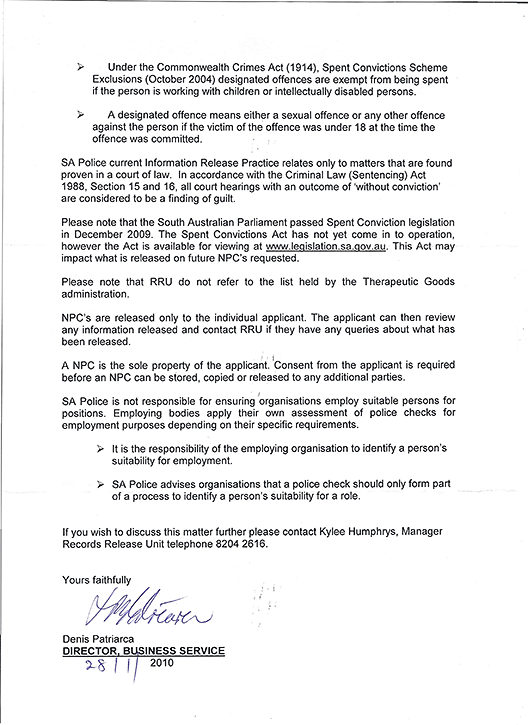 Letter in reply from Kylee Humphries of South Australia Police, page 2.