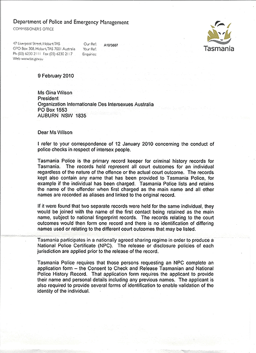 Letter in reply from D L Hine of Tasmania Police, page 1.