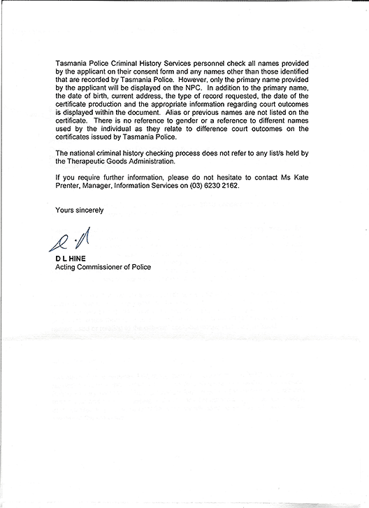 Letter in reply from D L Hine of Tasmania Police, page 2.