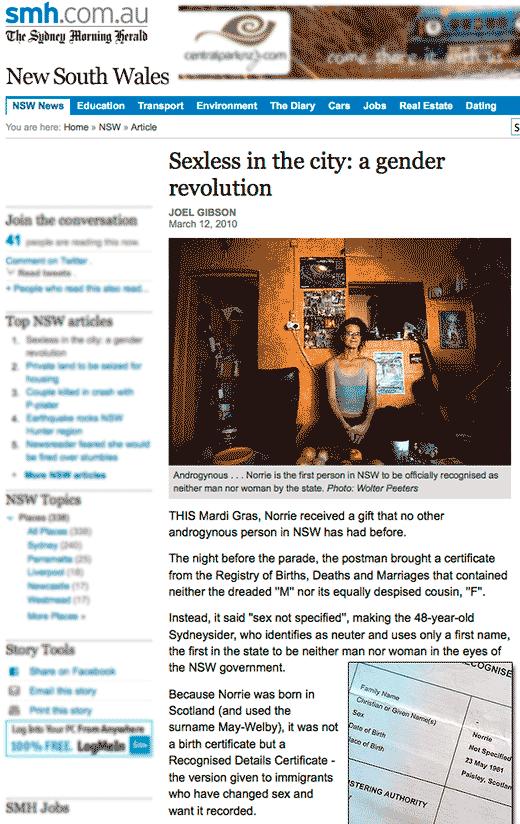 "Sydney Morning Herald: ""Sexless in the city: a gender revolution"""