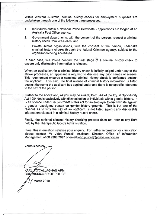 Reply from Karl J. O'Callaghan APM, Commissioner of Police, Western Australia Police, page 2.