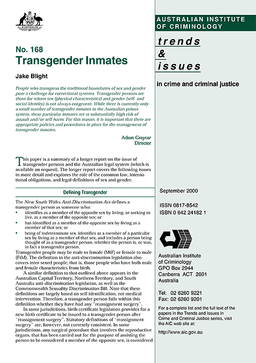 "Australian Institute of Criminology mistakenly includes intersex in ""Transgender Inmates"""