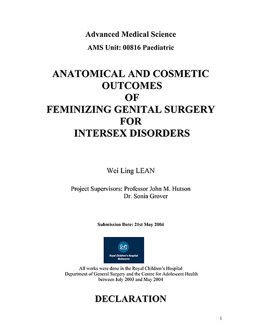 Wei Ling Lean: Anatomical and Cosmetic Outcomes of Feminizing Genital Surgery for Intersex Disorders