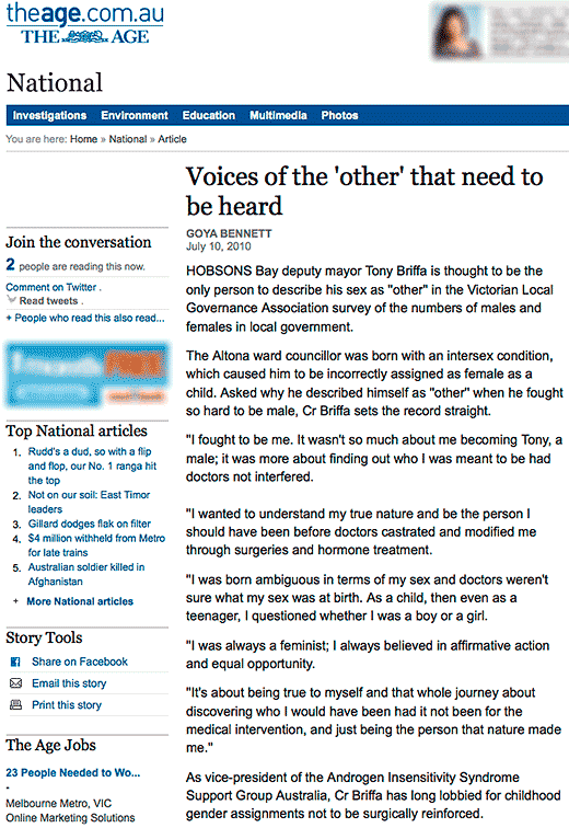 "The Age on Tony Briffa, ""Voices of the 'other' that need to be heard"""