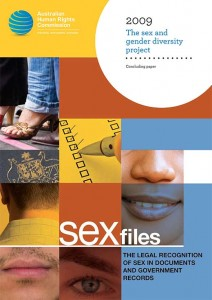 Australian Human Rights Commission: Sex Files: the legal recognition of sex in documents and government records; Concluding paper of the sex and gender diversity project, March 2009.