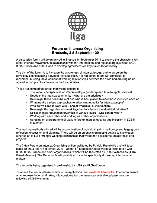 Announcement: Worldwide forum on intersex, ILGA, Brussels, 2-5 September 2011