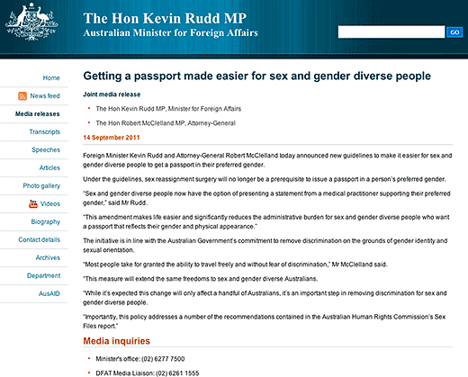 The Hon Kevin Rudd MP, Australian Minister for Foreign Affairs: Getting a passport made easier for sex and gender diverse people - click to read this page.