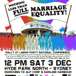 Intersex Australians do not have the right to marry under the Howard government's amendment to the Marriage Act 1961, so march in support of intersex Australians' right to marry on Saturday, 4th December 2011 - click to read more.