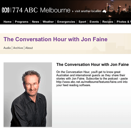 The Conversation Hour with Jon Faine: Tony Briffa interviewed - click to go to the MP3 podcasts download page.