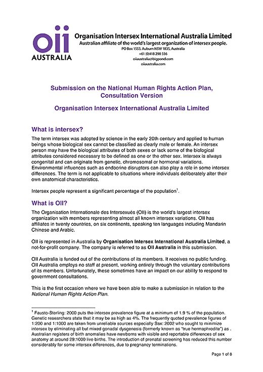 Organisation Intersex International Australia Limited: Submission on the National Human Rights Action Plan, Consultation Version