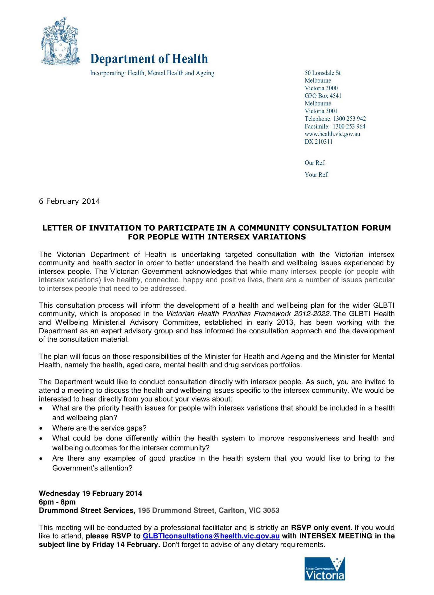 Community consultation forum victoria department of health oii letter of invitation stopboris Gallery