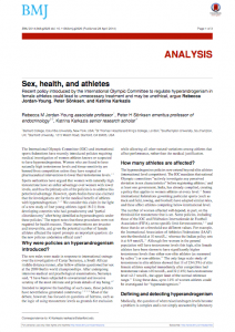 BMJ: Sex, Health and Athletes