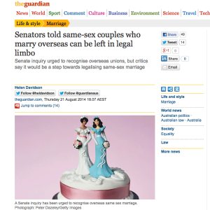 The Guardian: Senators told same-sex couples who marry overseas can be left in legal limbo