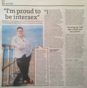 "Tony: ""I'm proud to be intersex"""