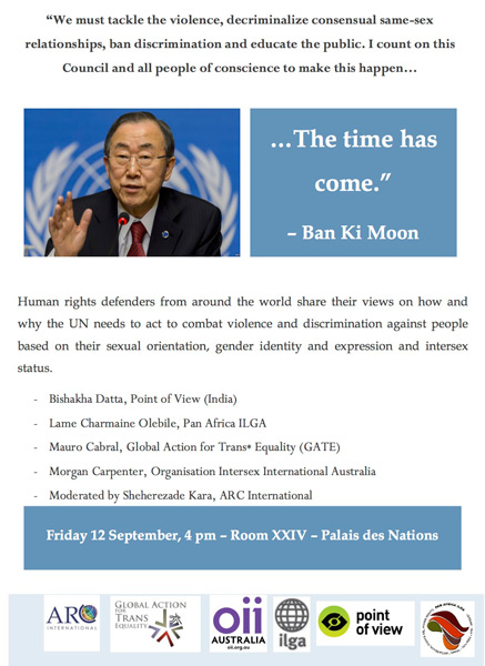 "UN Human Rights Council: resolution, statement and side event, ""The time has come"""