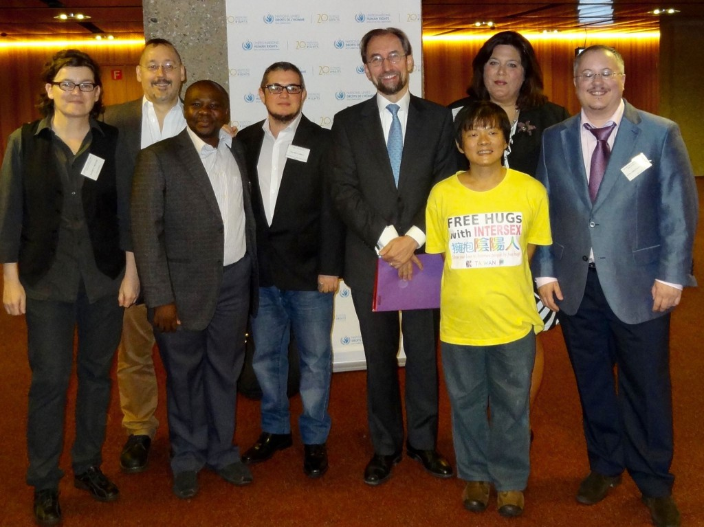 Daniela Truffer, Morgan Carpenter, Julius Kaggwa, Mauro Cabral, High Commissioner Zeid Ra'ad Al Hussein, Hiker Chiu, Kimberly Zieselman and Dan Ghattas at the Intersex expert meeting, Geneva