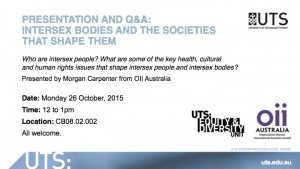 UTS event for Intersex Awareness Day, 2015