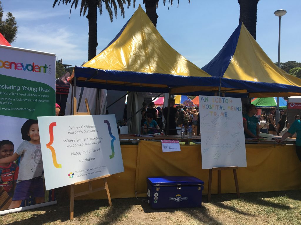 "Sydney Children's Hospital Network at Fair Day, 2018. Journal articles and discussions with clinicians at SCHN frame choices for so-called ""normalisation"" of children's bodies as choices between early or later surgery, with limited or inadequate discussion of human rights issues, necessity and evidence."